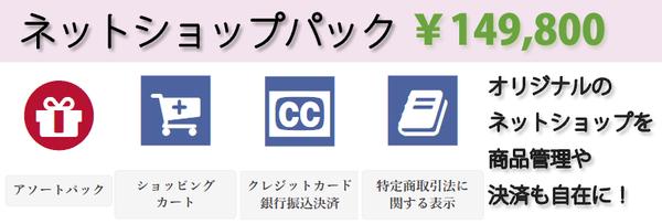 ホームページ制作の格安オプション。ネットショップパック。
